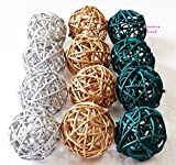 Christmas Gifts : Small Silver, Gold, Dark Green Rattan Ball, Wicker Balls, DIY Vase And Bowl Filler Ornament, Decorative spheres balls, Perfect For Decoration On Any Occasion 2 - 2.5 inch, 12 Pcs.