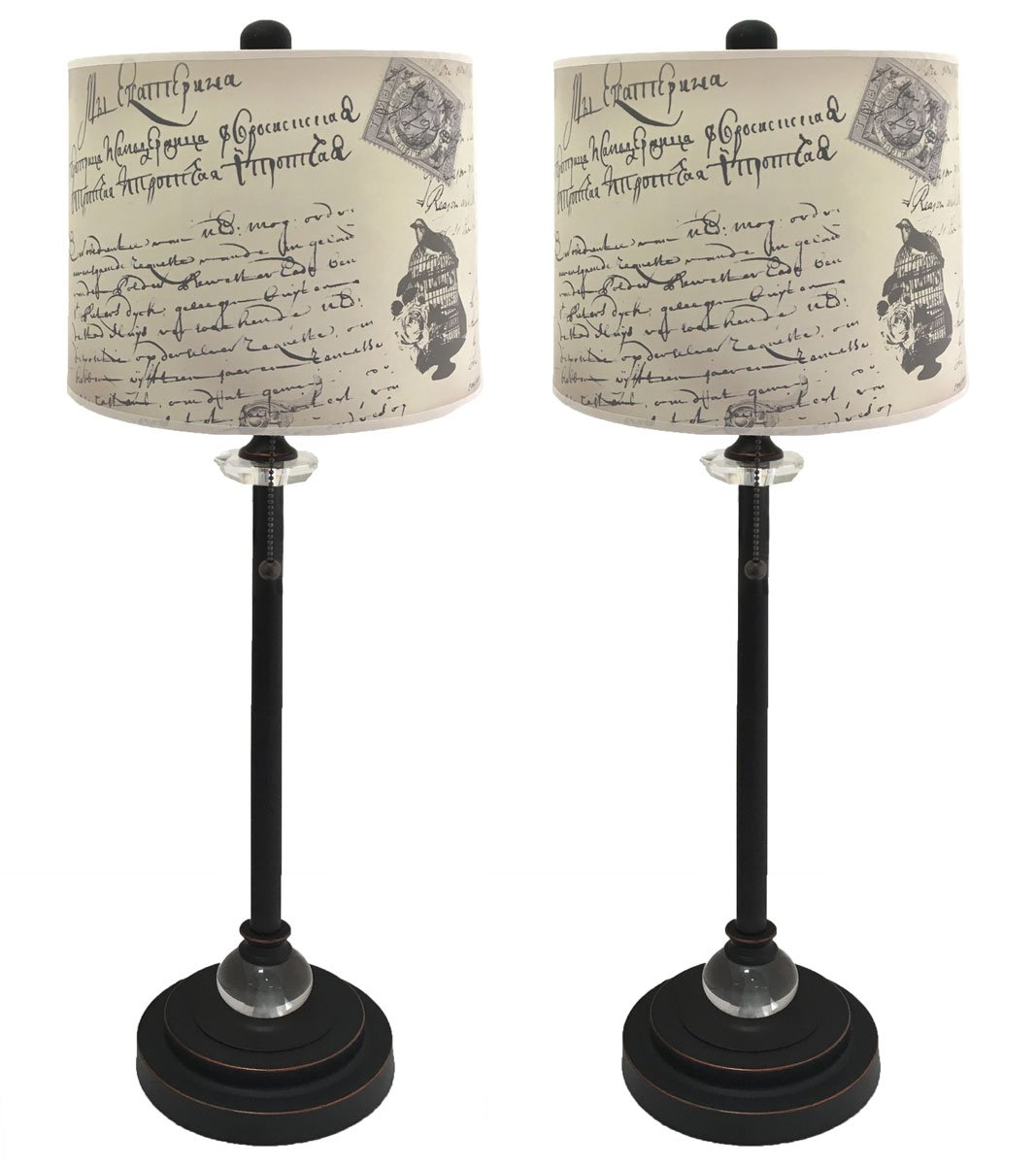 Royal Designs 28'' Crystal and Oil Rub Bronze Buffet Lamp with Vintage Letter Caligraphy Design Hard Back Lamp Shade, Set of 2 by Royal Designs, Inc