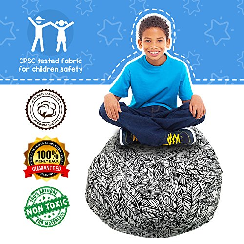 Cam & Kalleia | Bean Bag Stuffed Animal Storage Chair | Cute Toy Organizer Beanbag Containers to Create Extra Space at Home Storing Kids or Teens Plush Cushions, Soft Bed Sheets, and More! by Cam & Kalleia