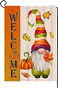 BLKWHT Welcome Fall Pumpkin Garden Flag Vertical Double Sided Autumn Halloween Thanksgiving Gnome Burlap Yard Outdoor Decor 12x18 Inches BW047