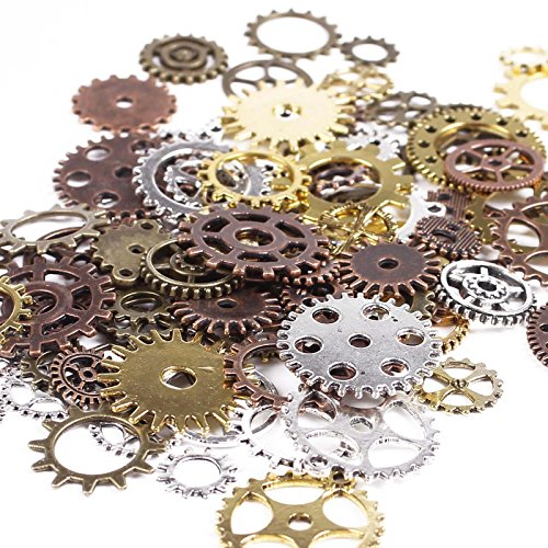 Antique Gears (BIHRTC 100 Gram DIY Assorted Color Antique Metal Steampunk Gears Charms Pendant Clock Watch Wheel Gear for Crafting, Jewelry Making Accessory)