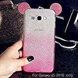 KC Cute Ears Gradient Glitter 2 in 1 Transparent Soft Case Samsung Galaxy J5 2016 Back Cover for Girls - Pink Colour