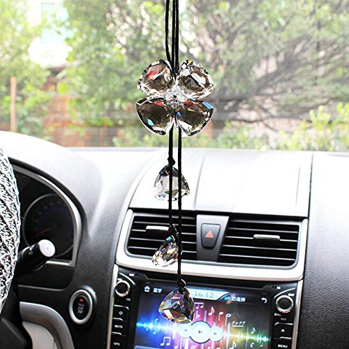 - COGEEK Crystal Four Leaf Clover Interior Accessories Car Charms Pendants for Auto Rear View Mirror Hanging Decoration (Bright Black)