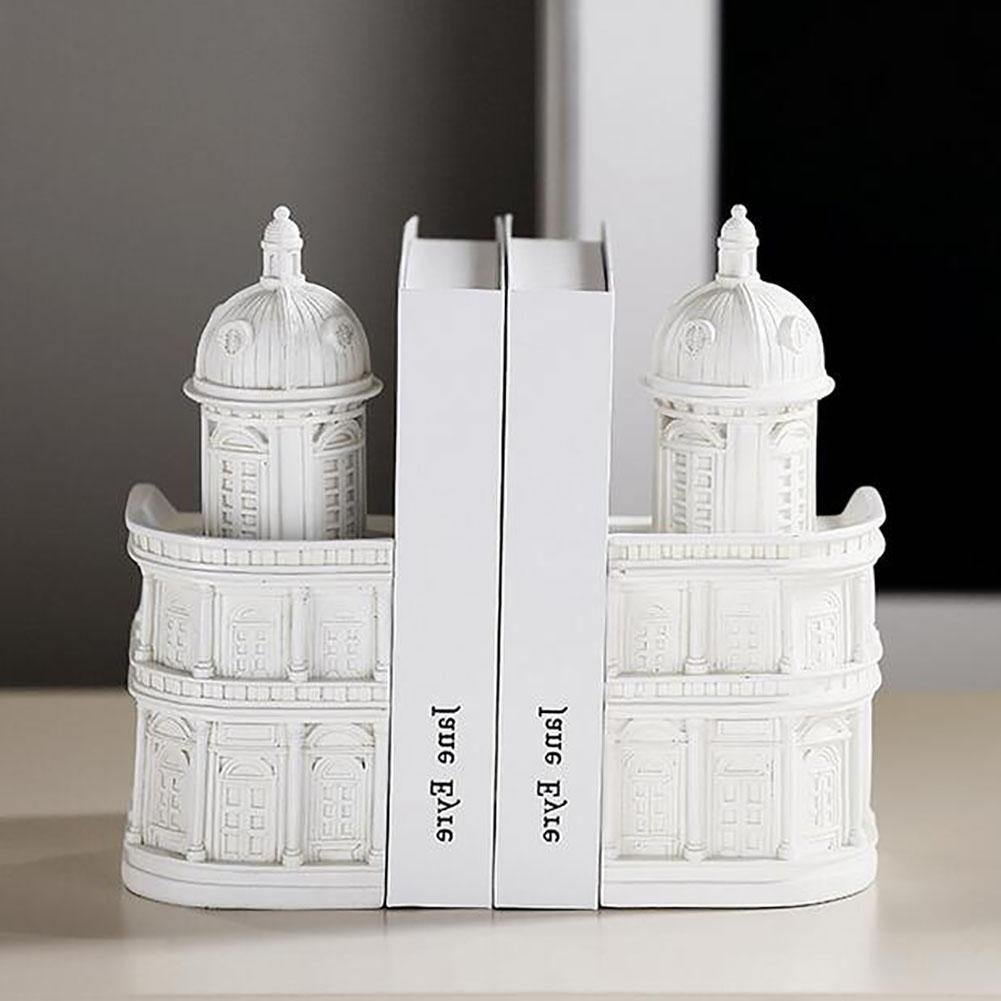 LPY-Set of 2 Bookends Resin Creamy-White Building Style Handicrafts, Book Ends for Office or Study Room Home Shelf Decorative
