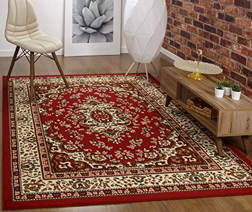 - Antep Rugs Kashan King Collection Himalayas Oriental Polypropylene Indoor Area Rug (Maroon/Beige, 5' x 7')