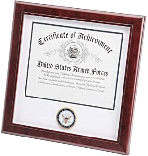 product image for flag connections US Navy Certificate of Achievement Picture Frame with Medallion - 8 x 10 Inch Opening