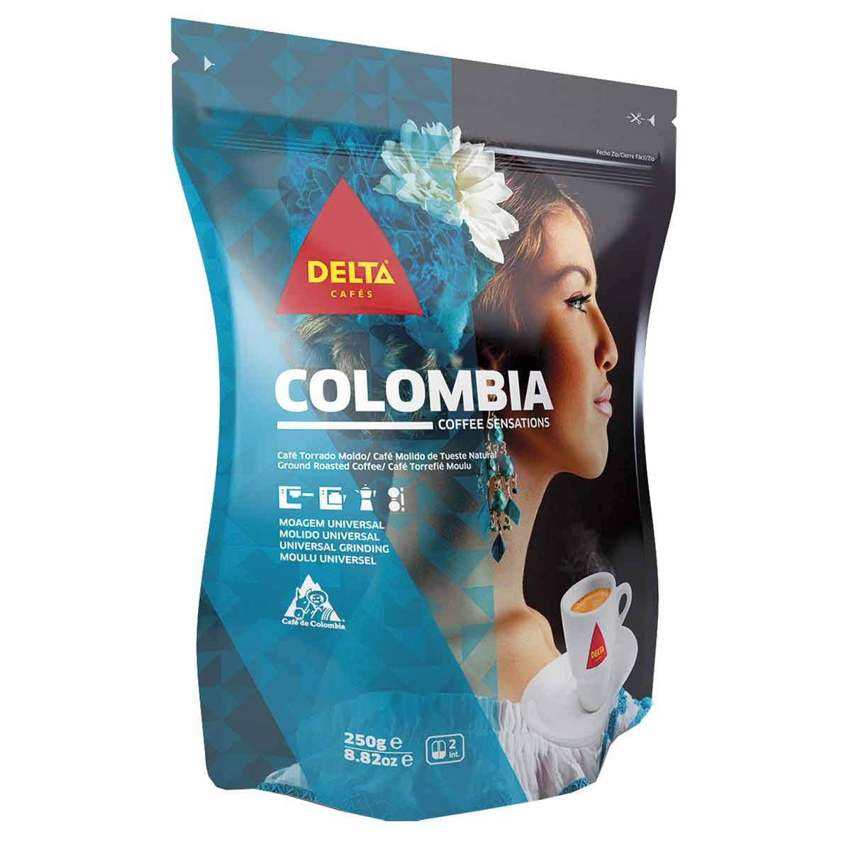Delta Ground Roasted Coffee from COLOMBIA for Espresso Machine or Bag 250g