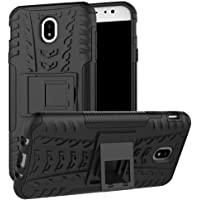 Delkart Tough Military Grade Armor Defender Series Dual Protection Layer Hybrid TPU + PC Kickstand Back Case Cover for Samsung Galaxy J7 Pro - Black