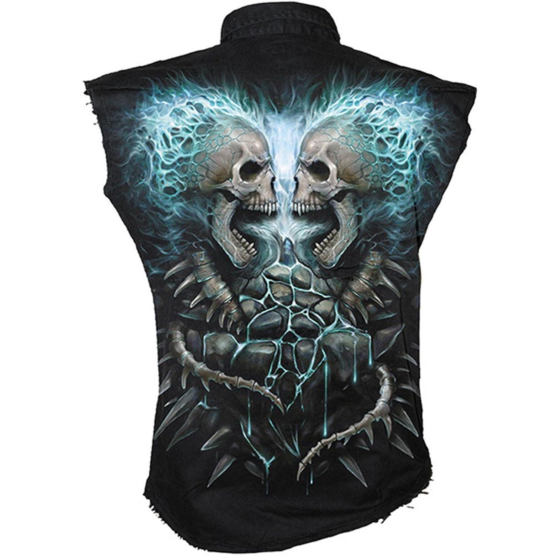 Spiral 'Flaming Spine' Men's Workshirt sizes M-XXL /Rock/Goth/Biker fashions