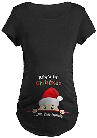 2e246284abe25 Amazon.com: MNLYBABY Baby's 1st Christmas Maternity T-Shirt Funny Short  Sleeve Pregnancy Tee: Clothing