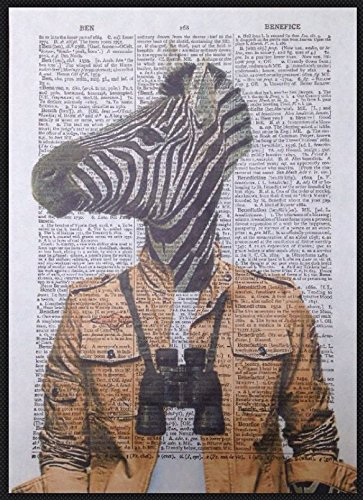 Zebra stampa vintage Dictionary page Wall Art immagine Quirky Cool Safari Animal Funky umanizzato Homemade