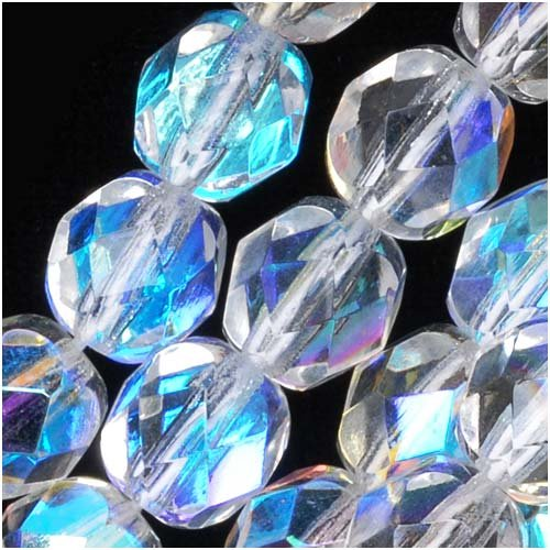 Jablonex Czech Fire Polished Glass Beads 7mm Round Crystal AB (25) -