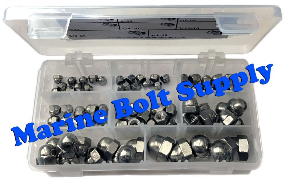 Type 18-8 Stainless Steel Acorn//Cap Nut Assortment Kit Marine Bolt Supply 8-110103
