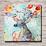 why are frogs wet - Contemporary Art Abstract Animal Spray Painting Wall Art Painting For Living Room Bedroom Hotel Decor With Frame Ready To Hang 16X16inch, Deer