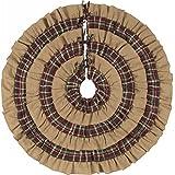 VHC Brands Burlap and Plaid Ruffled Tree Skirt 48'' 100% Cotton