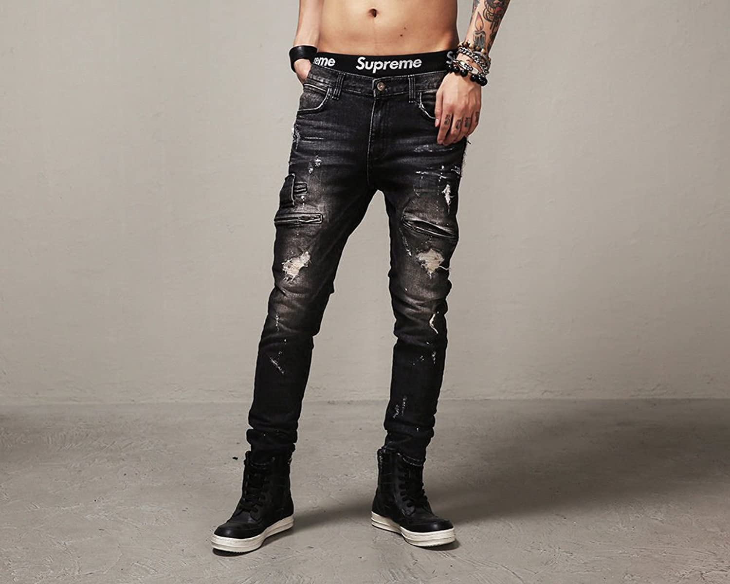 Men's Black Slim Fit Ripped Jeans With Zipper Decoration Denim ...