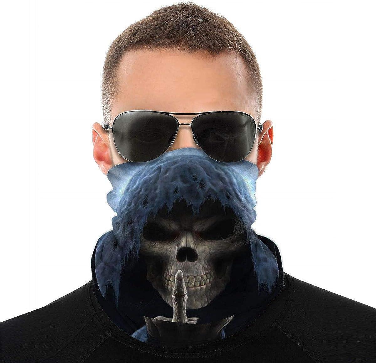 Fuck Skull Middle Finger Men & Women Face Cover Bandana, Multifunctional Headband Scarf Neck Gaiter Balaclava