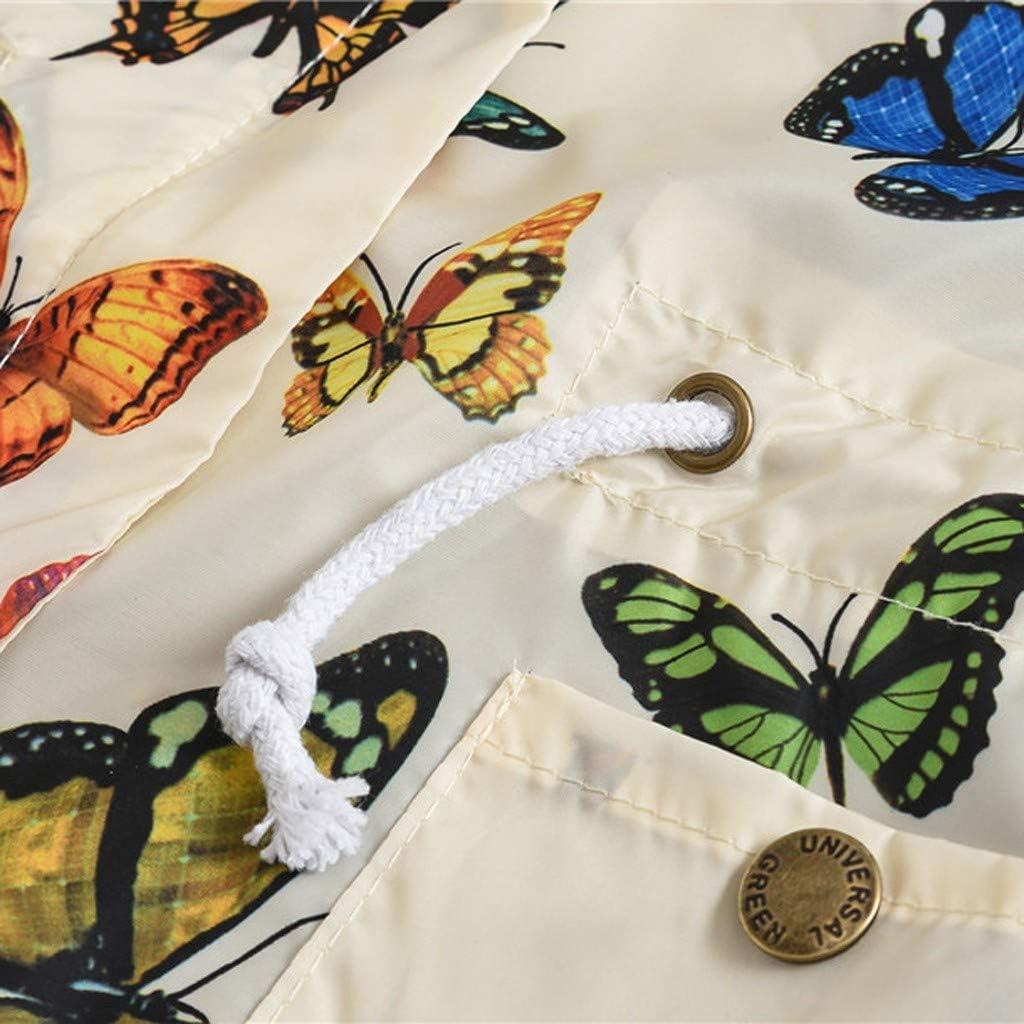 wuayi Unisex Kids Coats Girls Boys Cartoon Butterfly Print Windproof Hooded Jacket Outerwear