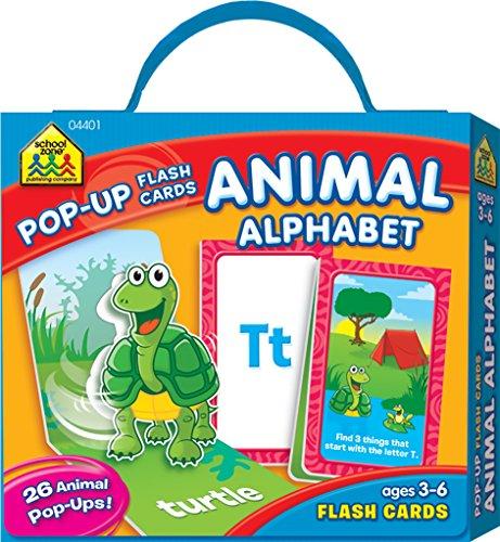 Alphabet Cards Animals Flash - School Zone - Animal Alphabet Pop-Up Flash Cards, Ages 3 through 6, Preschool through Kindergarten, ABC's with Adorable Pop-Up Illustrations