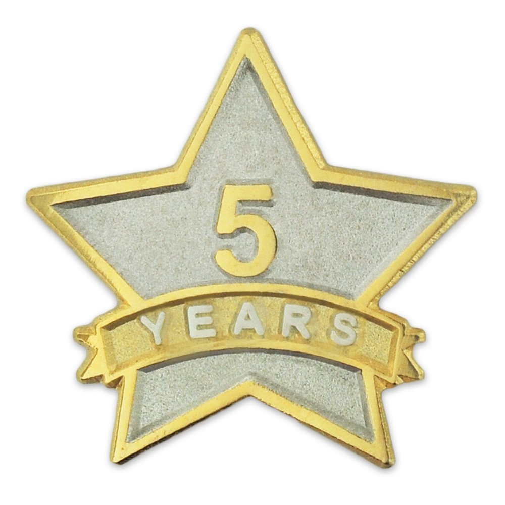 PinMart's 5 Year Service Award Star Corporate Recognition Dual Plated Lapel Pin