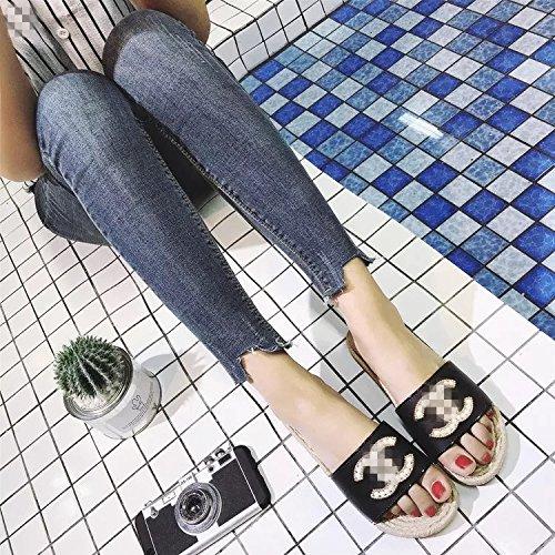 C 40 Mot Style Été Plate Extérieur forme Explosions HONG Maison Intérieur Et De Sandales 39 Européen De Un De Bains Drag Black Et Pantoufles JIA Salle PgBwqRE