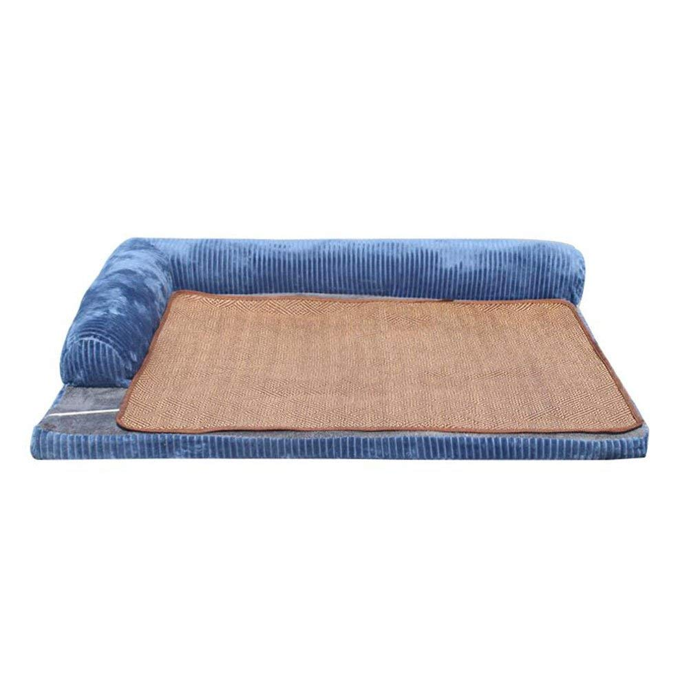 bluee X-Large bluee X-Large Pet Bed Kennel Four Seasons Sofa Large Dog Mat Cat Nest Dog Bed Washable Summer (color   bluee, Size   X-Large)