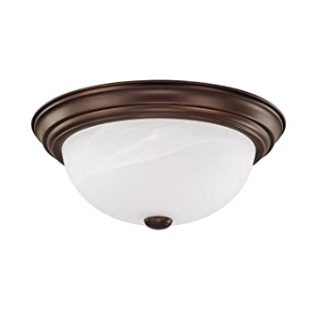 Capital Lighting 2713BB Traditional 2 Light Flush Mount Burnished Bronze Finish With White Faux