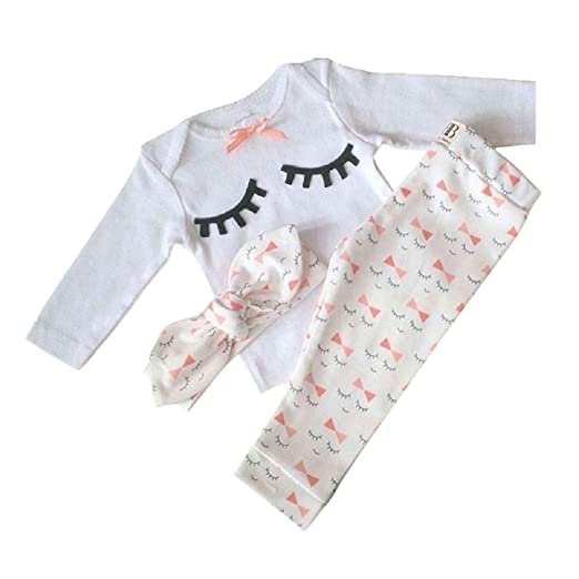 Yilaku Newborn Baby Outfits Shirt + Pants + Headband 3pcs Long Sleeve Toddler Cotton Rompers Infant