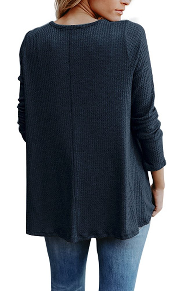Smibra Womens Solid Long Sleeve V Neck Ribbed Sweater Henley Shirt Pleat Blouse Top Blue Large by Smibra (Image #3)