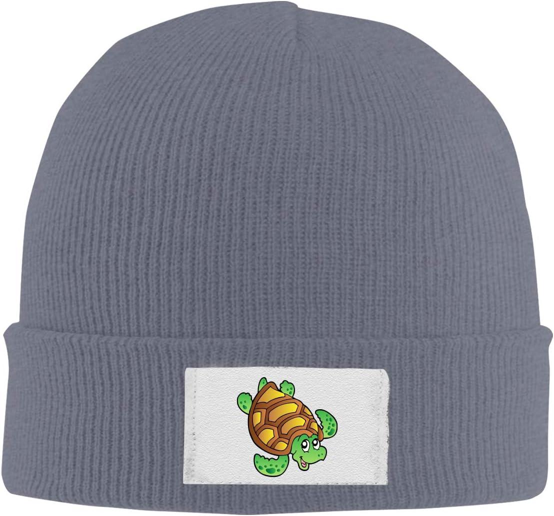 Dunpaiaa Skull Caps Turtle Cartoon 1 Winter Warm Knit Hats Stretchy Cuff Beanie Hat Black