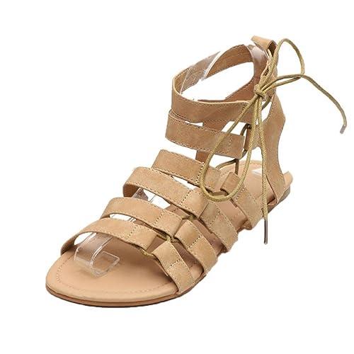 ASHOP Sandalias Mujer Bohemia Las Bailarinas Planas Zapatos de Cordones Verano Gladiador Peep-Toe Moda Zapatillas De Playa Sandalias y Chanclas de Cuero ...