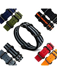 CIVO Heavy Duty G10 Zulu Military Watch Bands NATO Premium Ballistic Nylon Watch Strap 5 Black Rings with Stainless Steel Buckle 20mm 22mm 24mm (black smoke grey bond, 22mm)