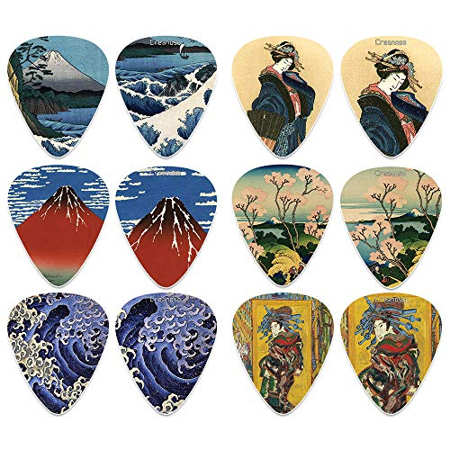 - Japanese Fine Art Famous Paintings Guitar Picks (12-Pack)- Medium - Katsushika Hokusai Vincent Van Gogh Mount Fuji Wave Geisha - Stocking Stuffers for Guitarist Men Women 'Mother's Day Father's Day