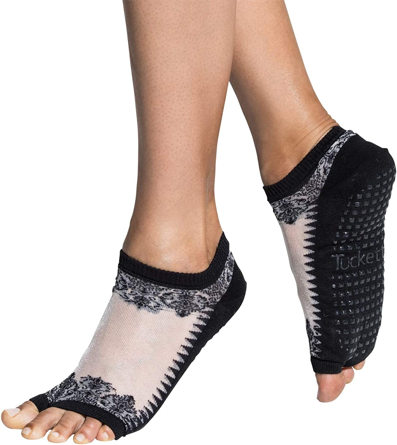 Details about  /Women Pilates Ballet Backless Yoga Socks With Bandage Five Fingers Breathable