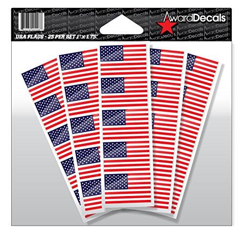 Award Decals American Flag Sticker Decal for Football Helmets (Football, Baseball, Softball, Hockey, Lacrosse, Etc.) 50 Stickers