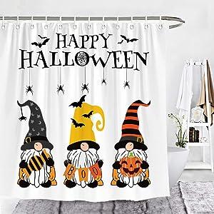 Wencal Happy Halloween Gnomes Shower Curtain Candy Boo Pumpkin Farmhouse Bathroom Decor with Hooks 72 x 72 Inches