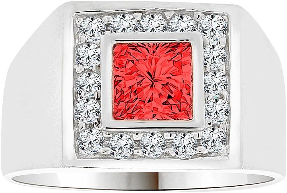 White Rhodium Plated Metal Fancy Ring Men Guy Gent Synthetic Jan Birthstone Dark Red CZ