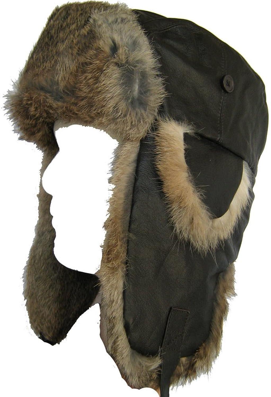 52617ec65af Klondike Sterling Leather Hat Rabbit Fur Trooper Winter Ski Brown 9H6619
