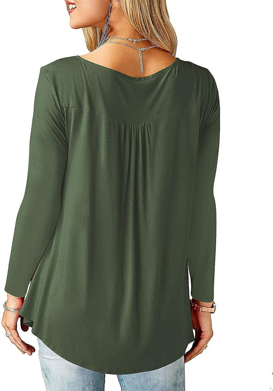 Amoretu Women V Neck T-Shirt Button Up Tunic Long//Short Sleeve Tops