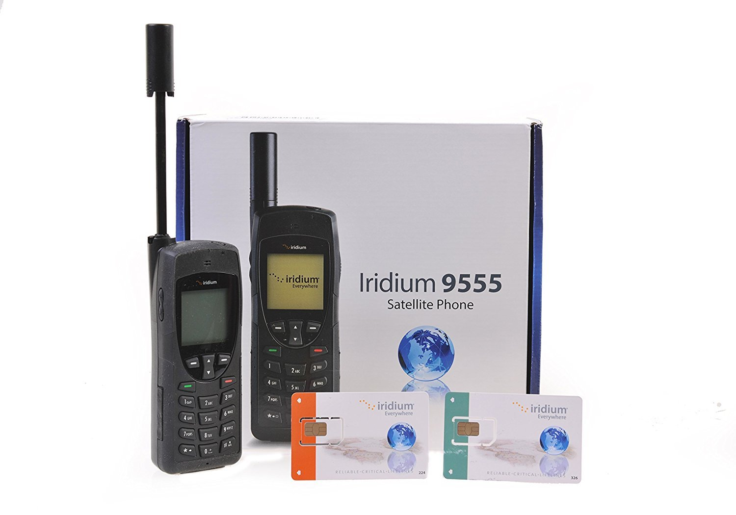 Iridium 9555 Satellite Phone Standard Package with Protective Cover w/ Prepaid Sim (0 Minutes (Monthly Subscription))