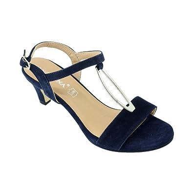 73459759b78 Angelina® JAVOTTE Sandales Plateforme Et Bride A Bijoux Chaussure Talon  Mi-Haut pour Femme
