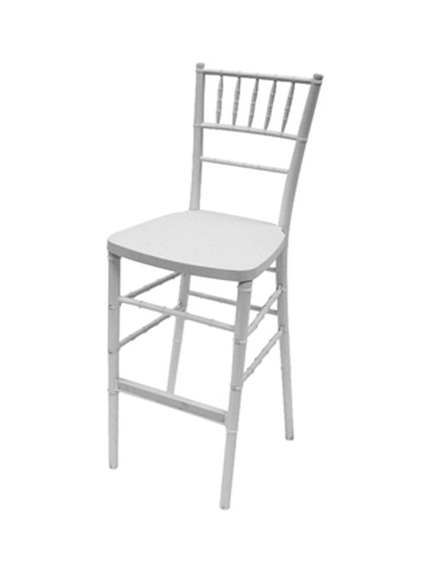 CSP Events RBB-900K-WH RBB 900K BL ''Max'' Chiavari Barstool Steel Core with ED Resin, 46.5'' Height, 16'' Width, 16'' Length, White