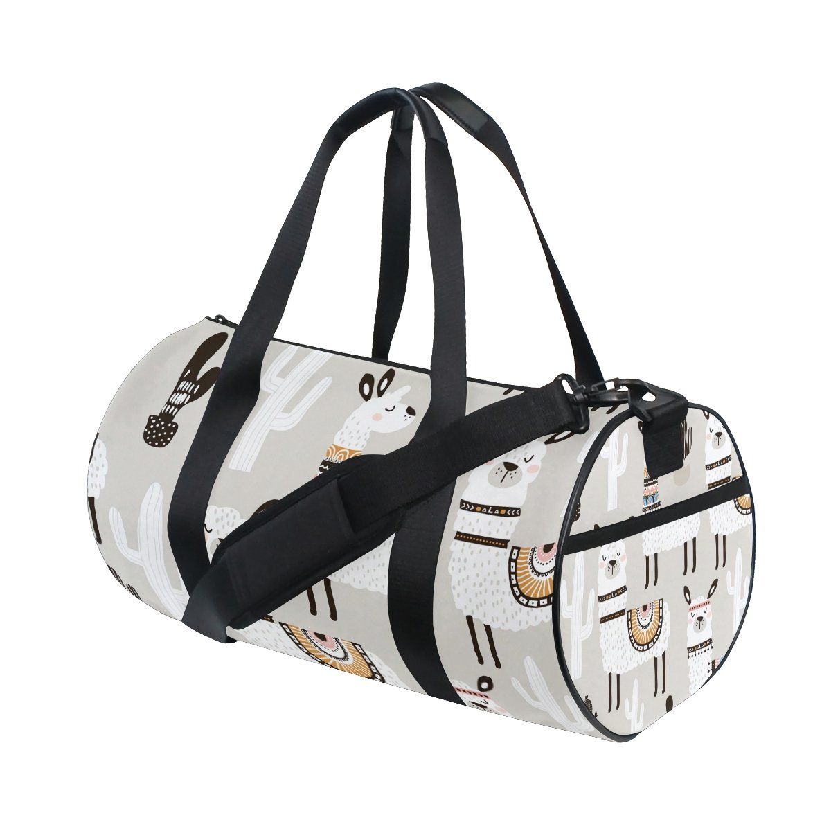 White Llama Travel Duffle Bag Sports Luggage with Backpack Tote Gym Bag for Man and Women