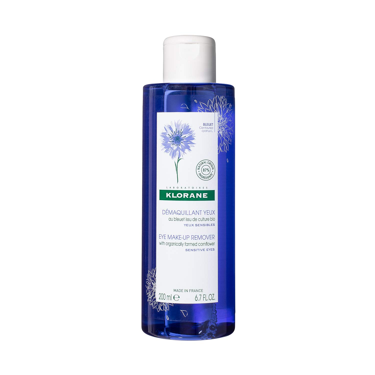 Klorane Floral Lotion Eye Make-up Remover with Soothing Cornflower for Sensitive Skin, Oil, Fragrance and Sulfate Free