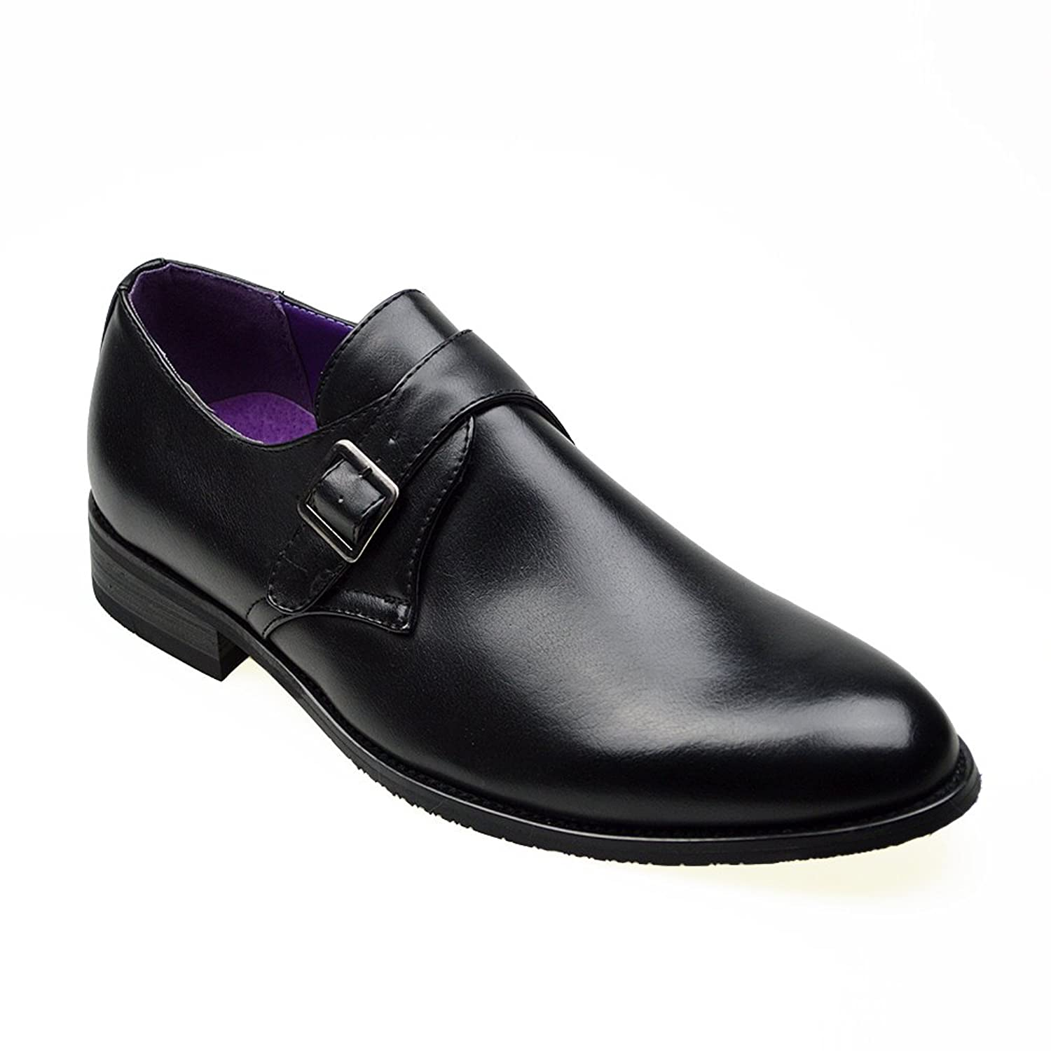 7ab4d8223e87 Robelli Mens Casual Black Leather Smart Formal Slip on Buckle Shoes UK SIZE  6 7 8