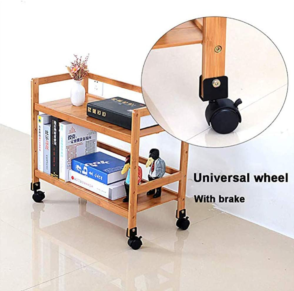 Available in a variety of sizes 2-Tier Kitchen Serving Trolley With Wheels Bamboo Wood Storage Shelf,With Handrail Wine Cart,Tea Cart,Layer Height Adjustable