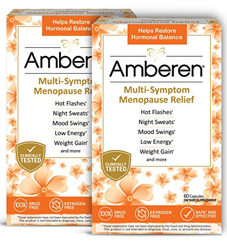 Amberen: Safe Multi-Symptom Menopause Relief. Clinically Shown to Relieve 12 Menopause Symptoms: Hot Flashes, Night Sweats, Mood Swings, Low Energy and More. 2 Month Supply