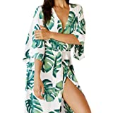 e1b7914a0f MOOSLOVER Women's Floral Flowy Kimono Cover Up Cardigan Long Rayon Beach  Dress(Green)