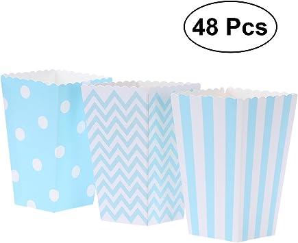 NUOLUX 48pcs Cajas de Palomitas cartón Caramelo contenedor patrón de Punto de Onda de la Ola de Rugby Deco (Azul): Amazon.es: Juguetes y juegos