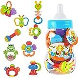 Bébés Hochets Jouets d'éveil -  WISHTIME Tambourin Instruments de musique jouet musical 9  pièces de hochets idéal cadeaux pour les Bébés (couleur aléatoire)